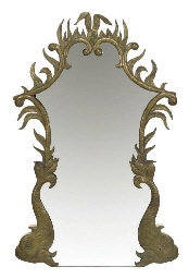 A BRASS WALL MIRROR