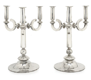 A LARGE PAIR OF ART DECO-STYLE POST WAR CANDELABRA