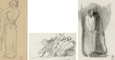 Femme nue (recto); Études de v