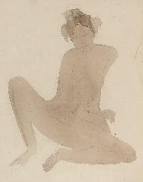 Femme nue assise aux jambes éc