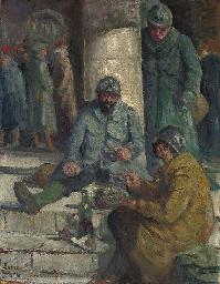 Soldats à la gare