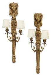 A PAIR OF GILTWOOD TWIN-BRANCH