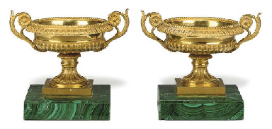 A PAIR OF RUSSIAN ORMOLU TAZZE