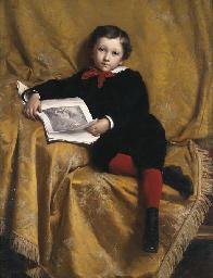 Portrait of a boy, seated, hol