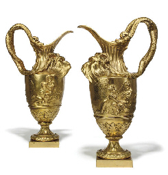 A PAIR OF ORMOLU ORNAMENTAL EW