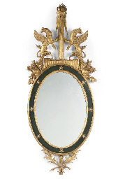 AN ITALIAN GILTWOOD AND BLACK-