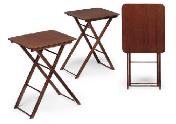 NINE FOLDING OCCASIONAL TABLES