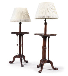 A PAIR OF MAHOGANY ADJUSTABLE