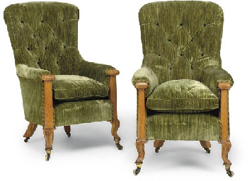 A PAIR OF MID-VICTORIAN OAK EA