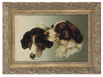 The heads of two gundogs