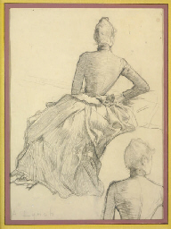 Studies of a lady, seen from b