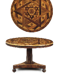 A WILLIAM IV ROSEWOOD, BIRD'S-