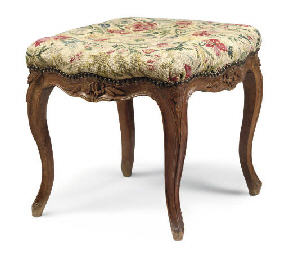 A LOUIS XV BEECH STOOL
