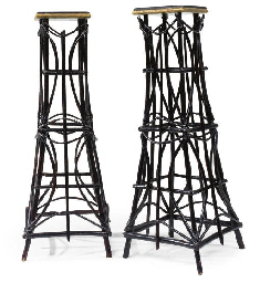 A PAIR OF 'RUSTIC' PAINTED AND