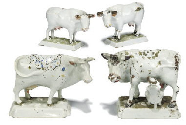 FOUR DUTCH DELFT MODELS OF COW