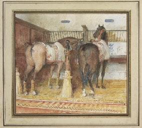 Two horses and a groom, in a l