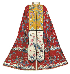 A CHINESE RED WOOLEN CAPE