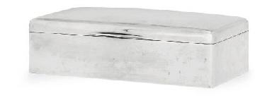 A SILVER CIGAR BOX