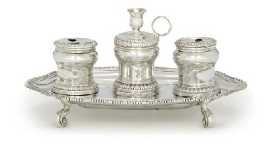 A GEORGE II SILVER INKSTAND