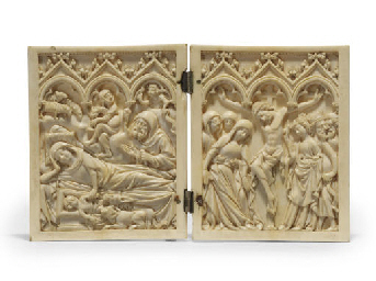 A CARVED IVORY DIPTYCH DEPICTI