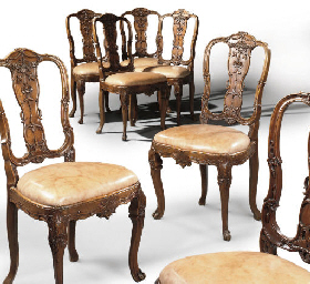 A SET OF SEVEN DUTCH WALNUT CH