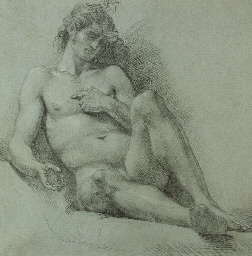 A seated male nude seen from t