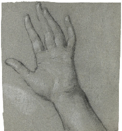 Study for the left hand of 'Th