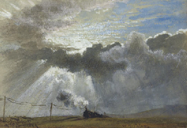 A steam train and telegraph wi
