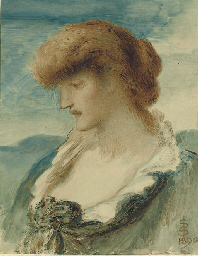 Head of a woman with red hair,