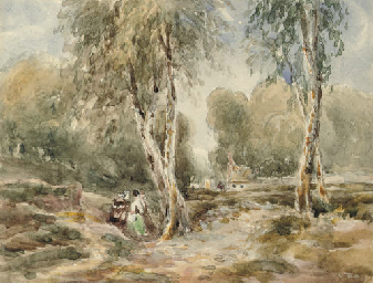 Gypsies in a wooded landscape