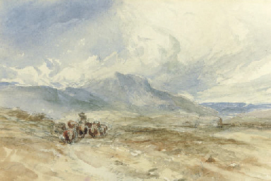 Cattle and a drover in a mount