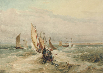 Fishing boats in a squall off