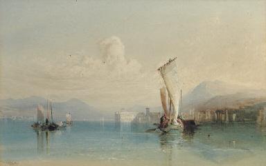 View of Lago Maggiore with shi
