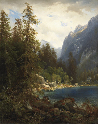 Paysage de montagne avec lac,