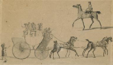 Kutsche und Reiter