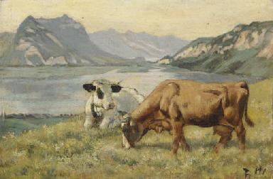 Zwei Kühe vor Thunerseelandsch