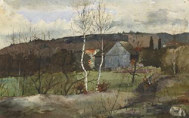 Dorfpartie mit Birken, um 1896
