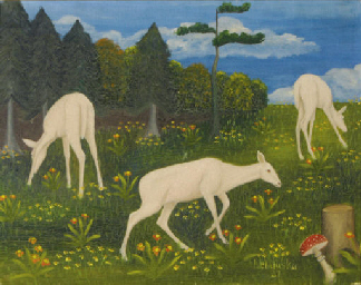 White fawns in a field