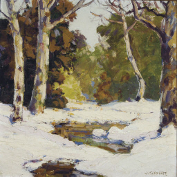 Snowy river bank in the woods;