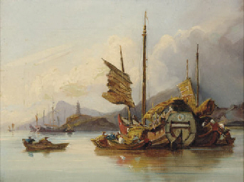 A Chinese Junk in a bay
