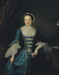 Portrait of a lady in a blue d