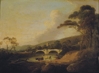 Cows near a river and bridge b