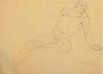 Study of a seated male nude an