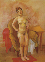 A standing nude posing in fron