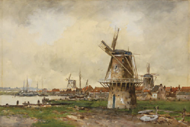 Windmills near the water's edg