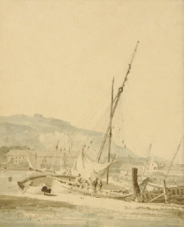 Sailingboat in a harbor; and t