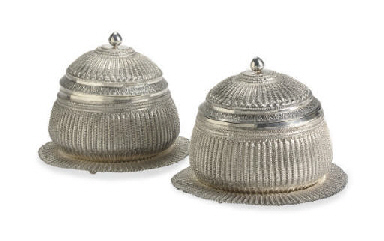 A PAIR OF SILVER BOWLS, COVERS
