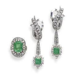 A GROUP OF EMERALD, DIAMOND AN