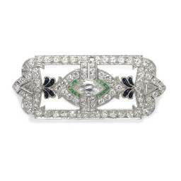 AN ART DECO DIAMOND, EMERALD,