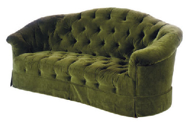A GREEN VELVET UPHOLSTERED BUT